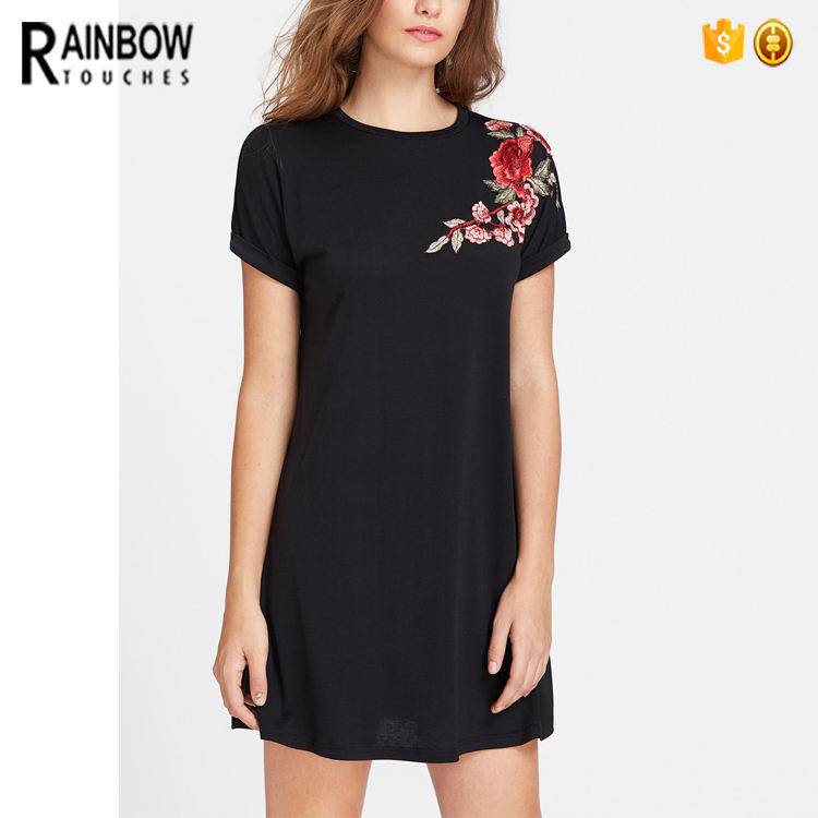 OEM Desain Rose Floral Bordir Hitam Kasual Wanita T Shirt Dress