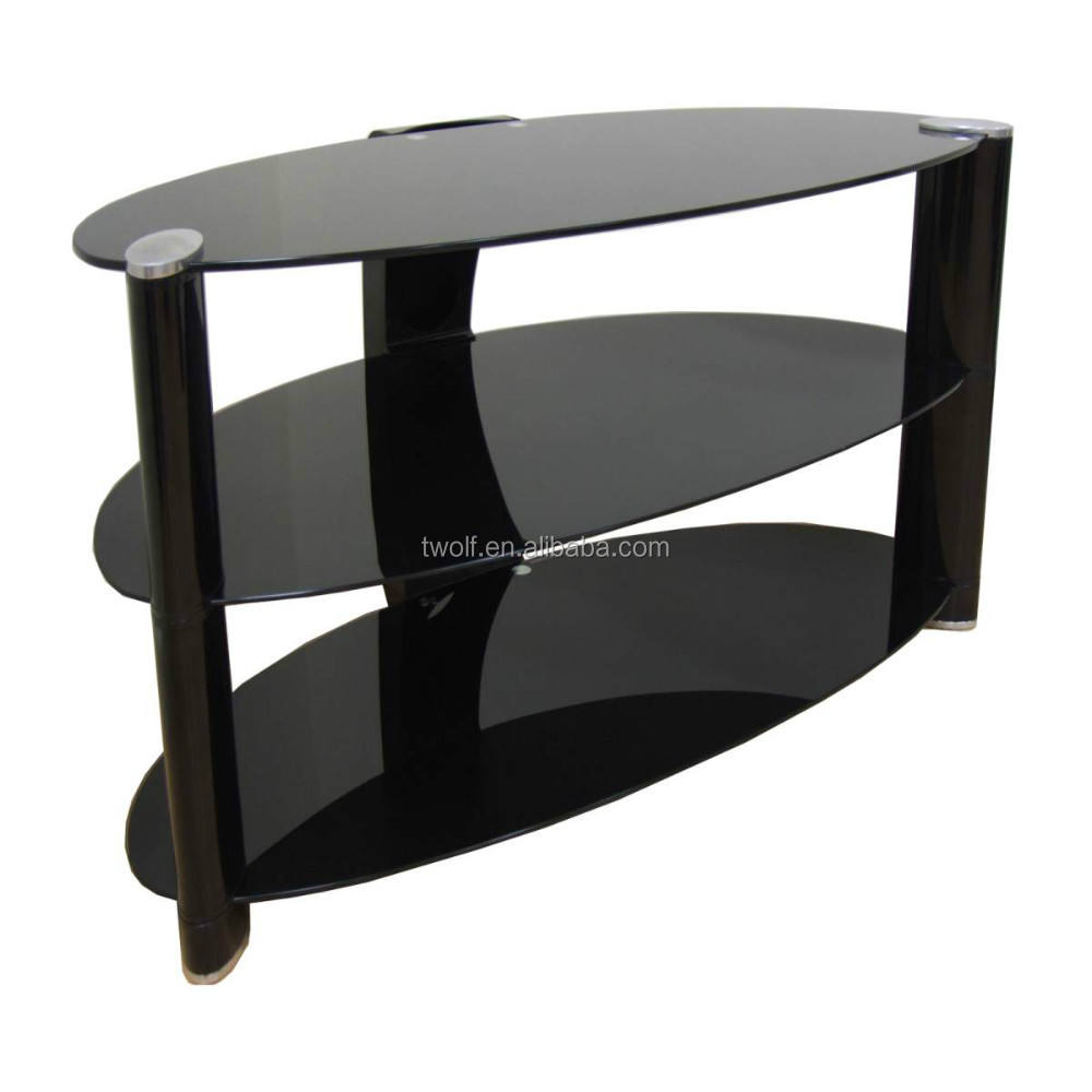 Living room simple design glass lcd tv stand with 3 shelf glass top ZA037