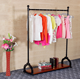 2018 new style display pop up stand wooden shelf with metal bars clothing store furniture