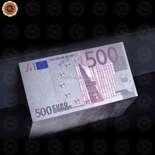 Wr Wholesale Colored Euro 500 Paper Bill 99.9 Sliver Plated Banknote Bill for Promotional Gifts