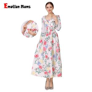 Emotion Moms 2018 3/4 Sleeve Cotton Blend Maternity Clothing Knitted Stretch Fabric Maxi Maternity dress Wholesale
