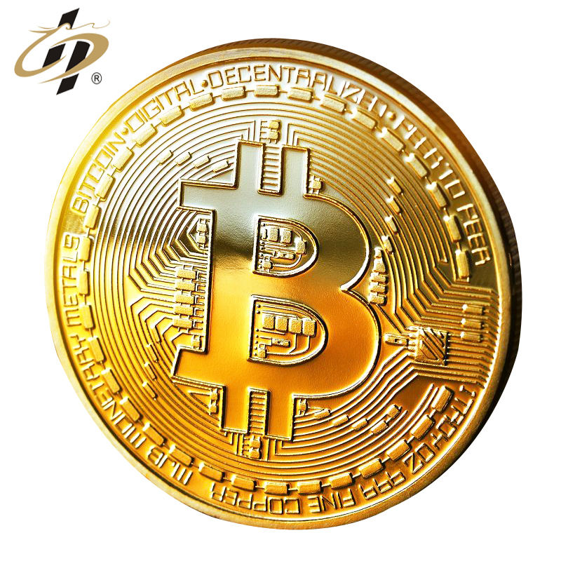 Factory direct custom high quality bitcoin shiny gold commemorative coin