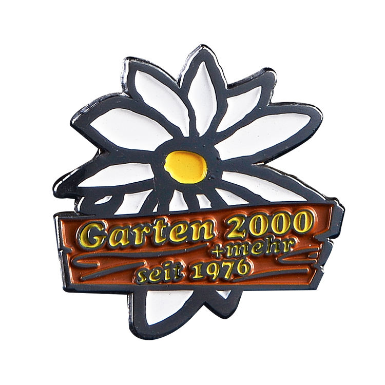 China Metal Crafts Factory custom glitter hard enamel flower pin
