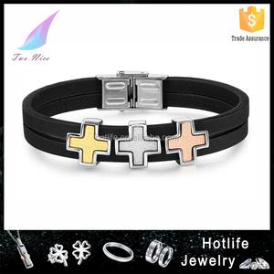 caldo in acciaio inox 2015 316l in vera pelle stringa braccialetto croce