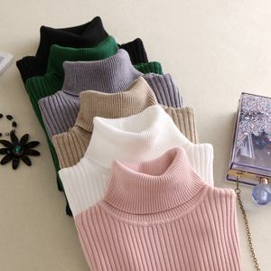Custom Women sweater turtleneck women high neck sweaters girl knitted cotton pullover sweater