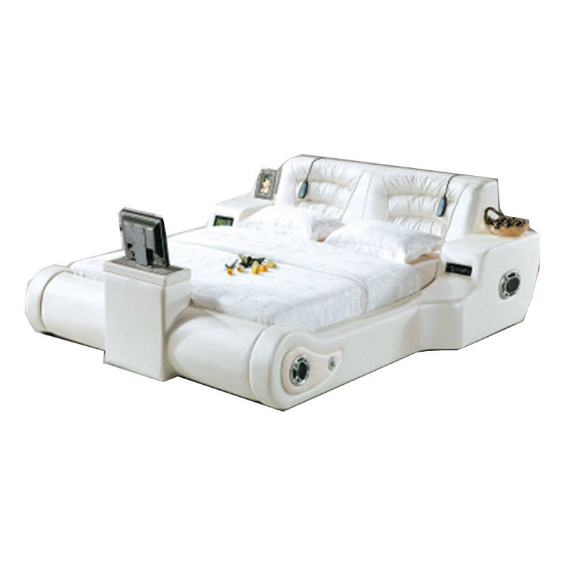 Modern ultimate smart bed with speaker electric spa cama massage leather tv bed in footboard bed frame