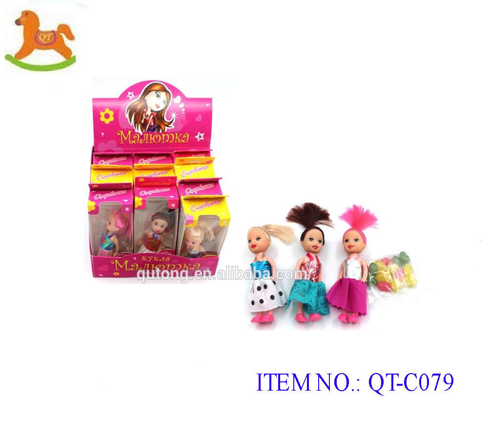 3.5inch small girl doll with fashion clothes with jelly bean cute small doll