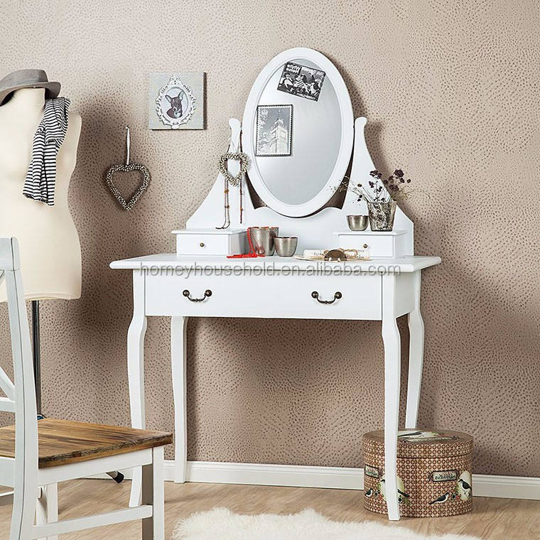 White Queen Anne Style Console Hall Table Side End Dresser Desk Vanity Table with Mirror