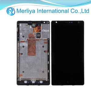 Hitam Kaca LCD Touch Screen Digitizer Majelis Parts Untuk Nokia Lumia 1520