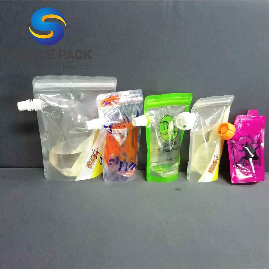 custom own logo plastic liquid spout pouch bag wtth double zipper pouch and lid