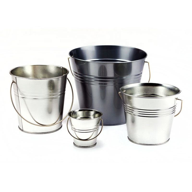 2020 Hot Sell Wholesale Metal Conical Ice Buckets Tin Pails with Handle for Buffet Party Supplies Flower Vases Garden Planters