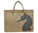 Sea Horse Printed Jute Burlap Tote Bag