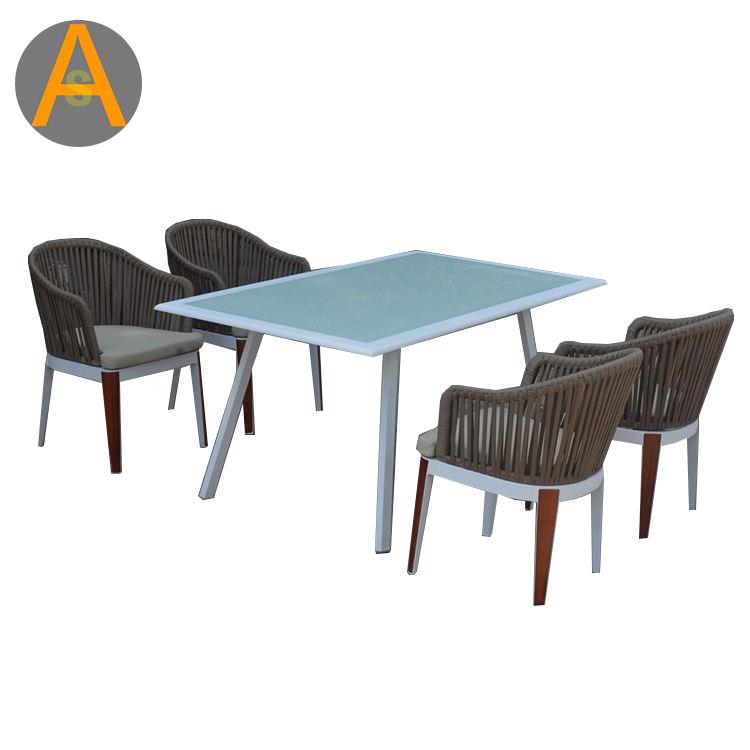 Patio al aire libre superficie de <span class=keywords><strong>vidrio</strong></span> comedor restaurante café marco de aluminio cuerda mesas y sillas