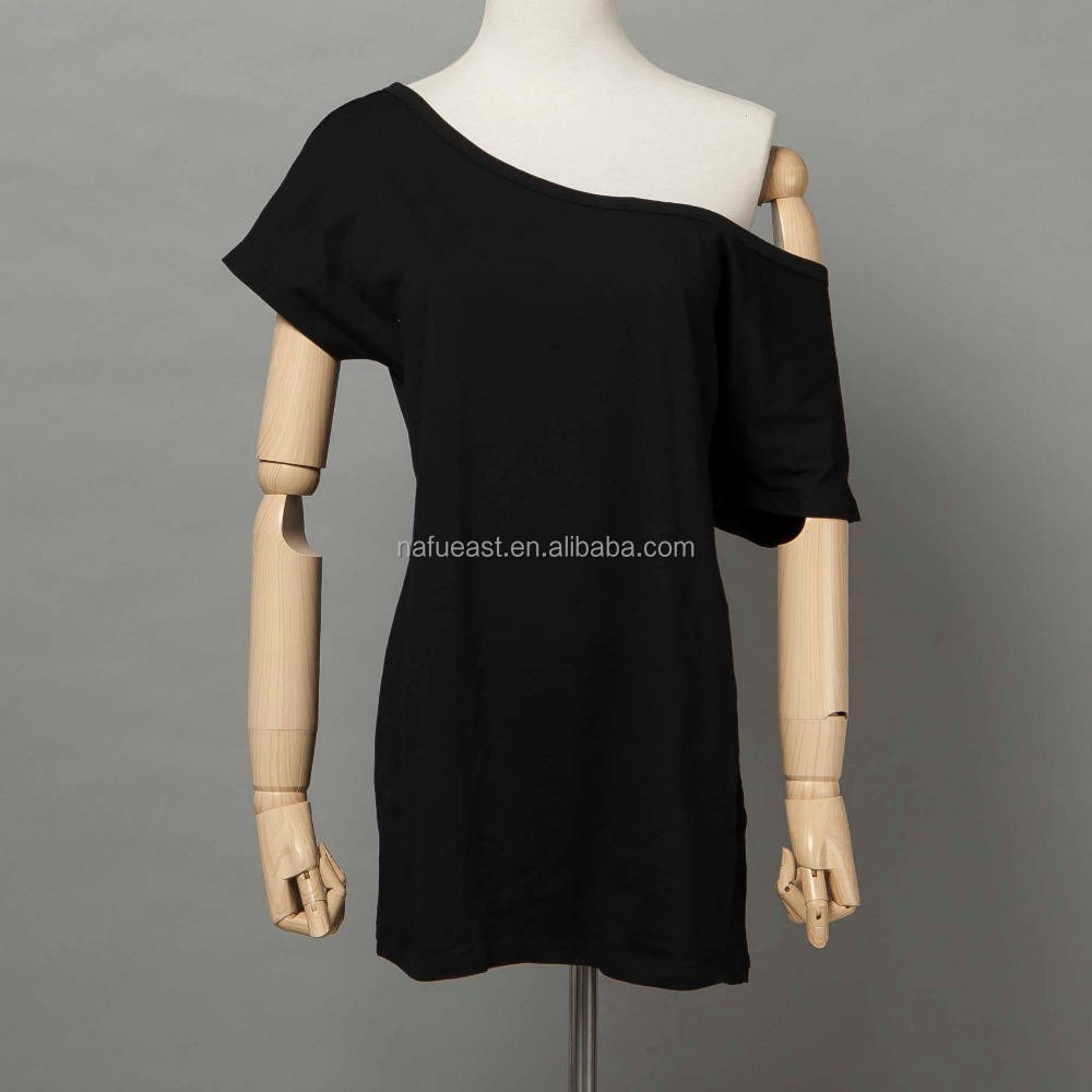 Donna Slash Neck Off Spalla Manica Corta T shirt