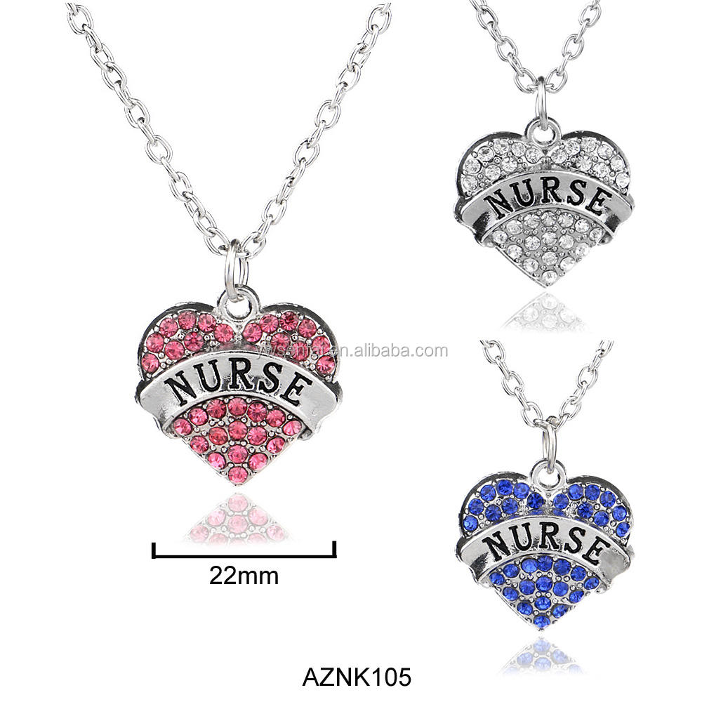 SENFAI factory wholesale metal gifts pink crystal heart nurse necklace
