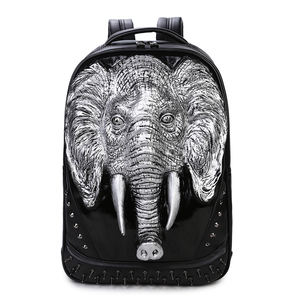 Wholesale 3D elephant men waterproof laptop backpack trendy rivet women backpack