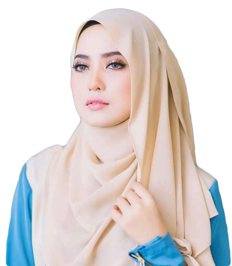Georgette Solid Color Thick Chiffon Custom Printed Muslim Hijab Long Scarf