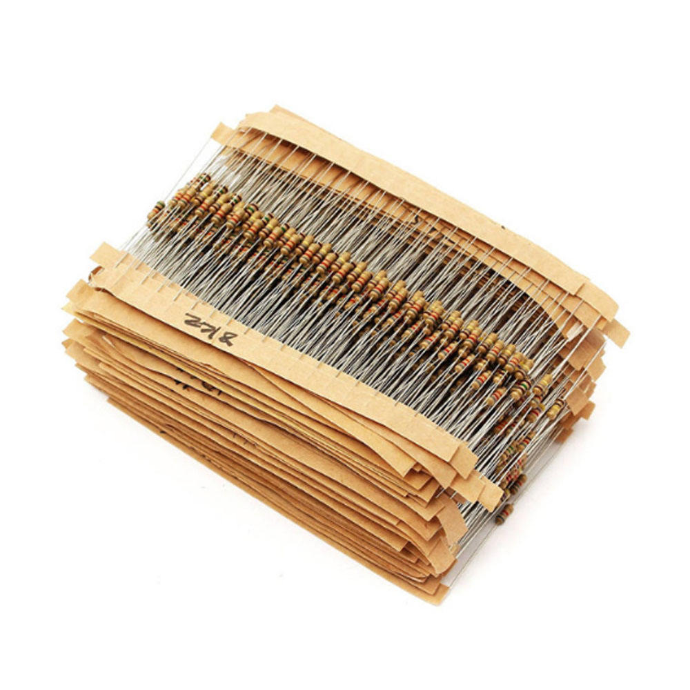 75 Values 1 ohm~ 10M ohm Electric 1500pcs 1/4W Carbon Film Resistors Assorted kit 5% 8X2mm Carbon Film Resistor Set pack