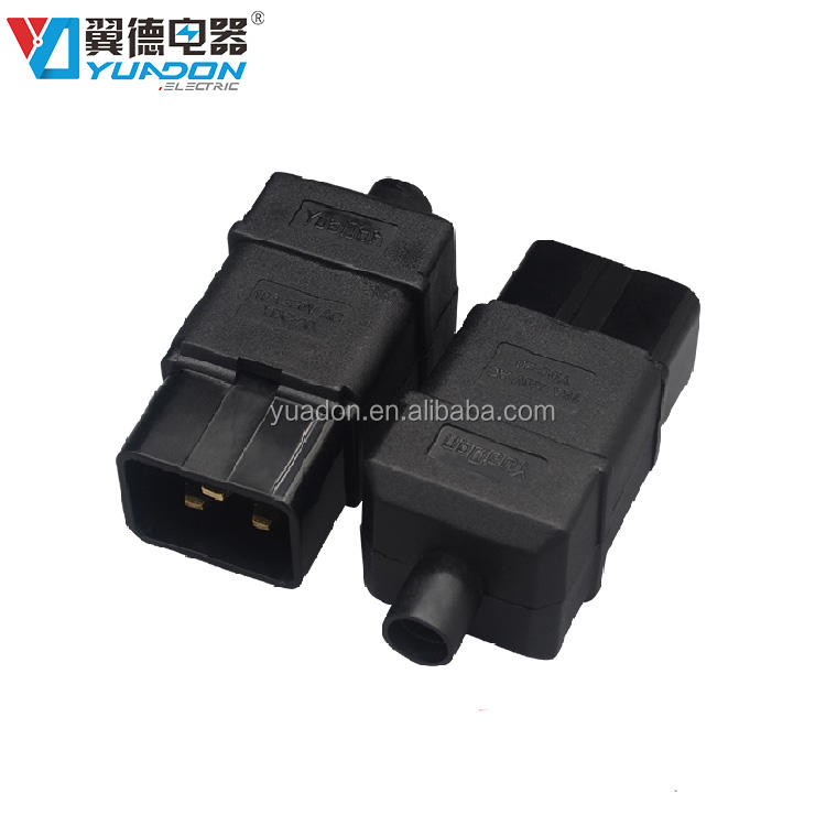 Guangzhou factory supply iec 320 male connector c20 rewireable plug inlet