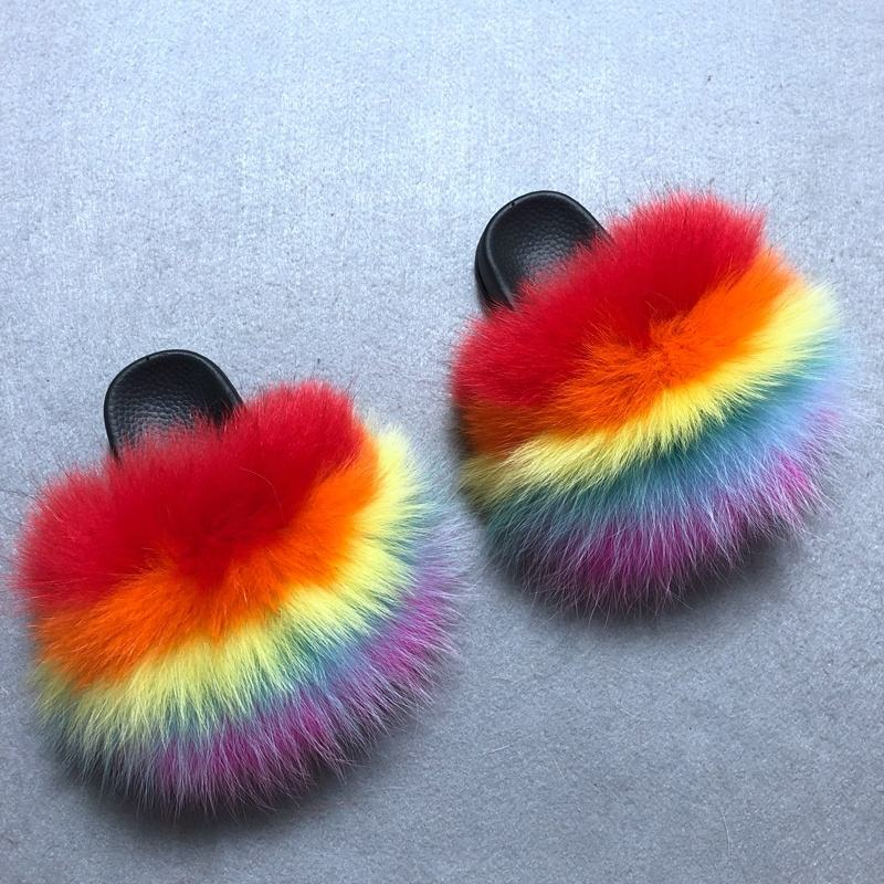 Mixed Colors 6C-2Y Sandals Toddler Fur Slides Raccoon Fox Fur Furry Cute Kids Fur Slides without strap