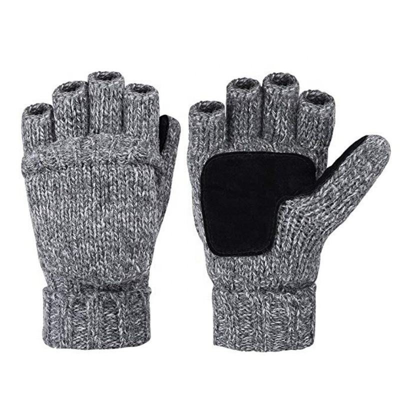 Unisex Men Women Stretch Knitted Fingerless Winter Warmer Mittens Gloves