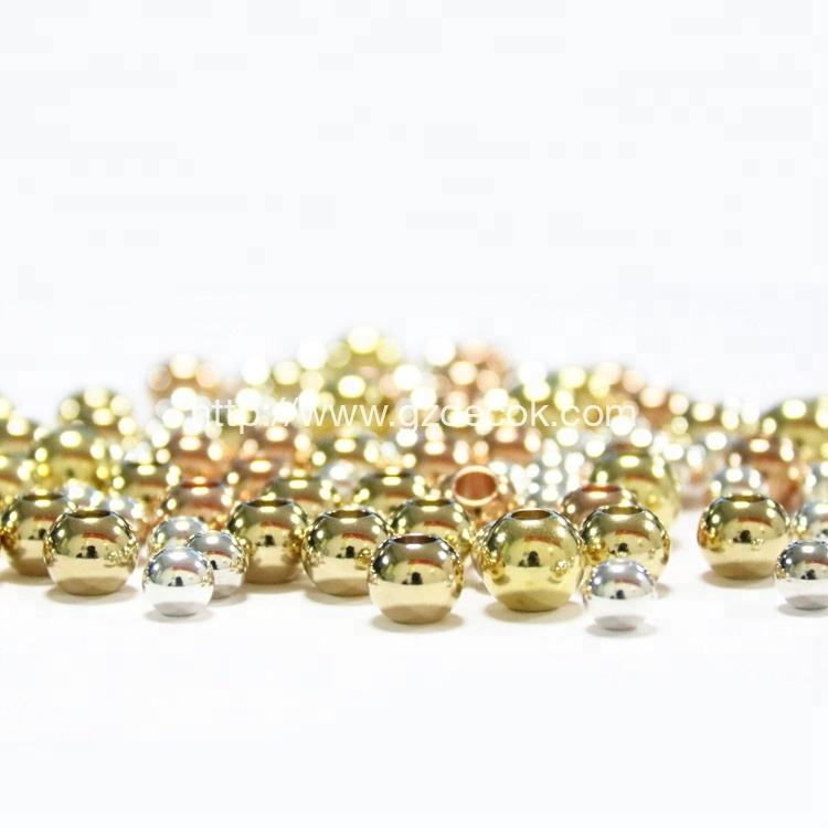 Jewelry Making Drilled Hole Steel Ball Plated Gold