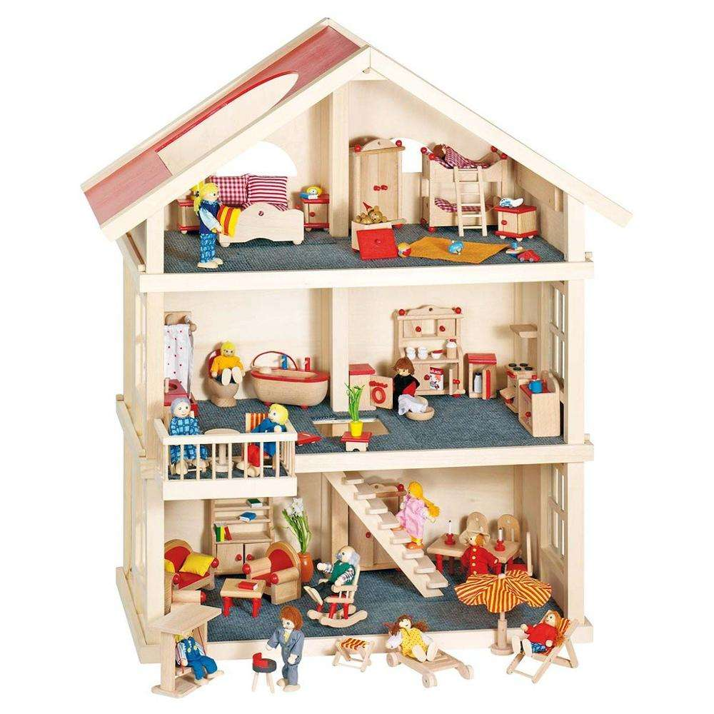 DIY dollhouse wooden doll house play set with furniture for kids pretend play for children educational preschool factory supply