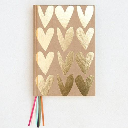 Small Pocket Recycle Brown Kraft Paper Notebook With Gold Foil Effect