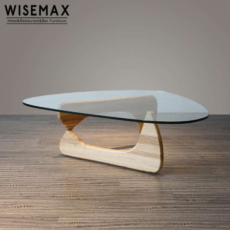Special triangle shape cheap tempered glass tea coffee table, cafe table with wooden legs