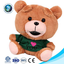 Yiwu manufacturer stuffed custom teddy bear toy with t shirt fashion cartoon cute soft stuffed plush bear