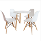 Design Modern Dining Chairs White Set of 4 Solid Wooden Legs Comfy Seat For Living Room/Patio/Terrace/Office/Kitchen/Lounging