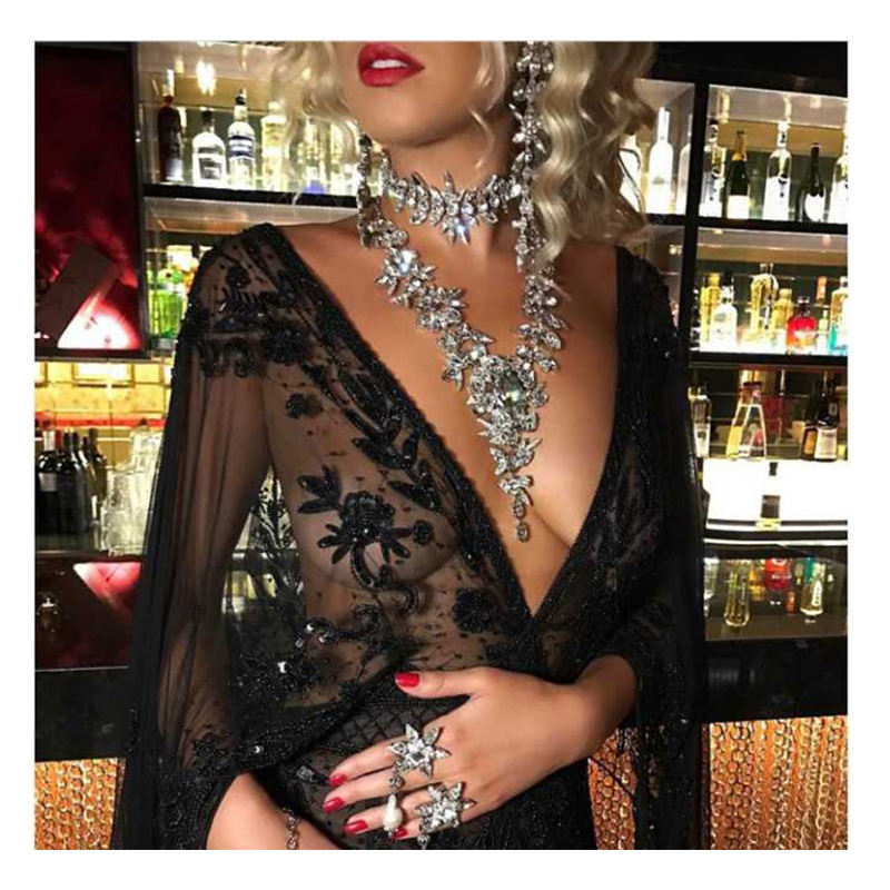 Barlaycs 2017 Za Luxury Crystal Pendant Necklace Women's Party Choker Collar Custom Jewelry J73