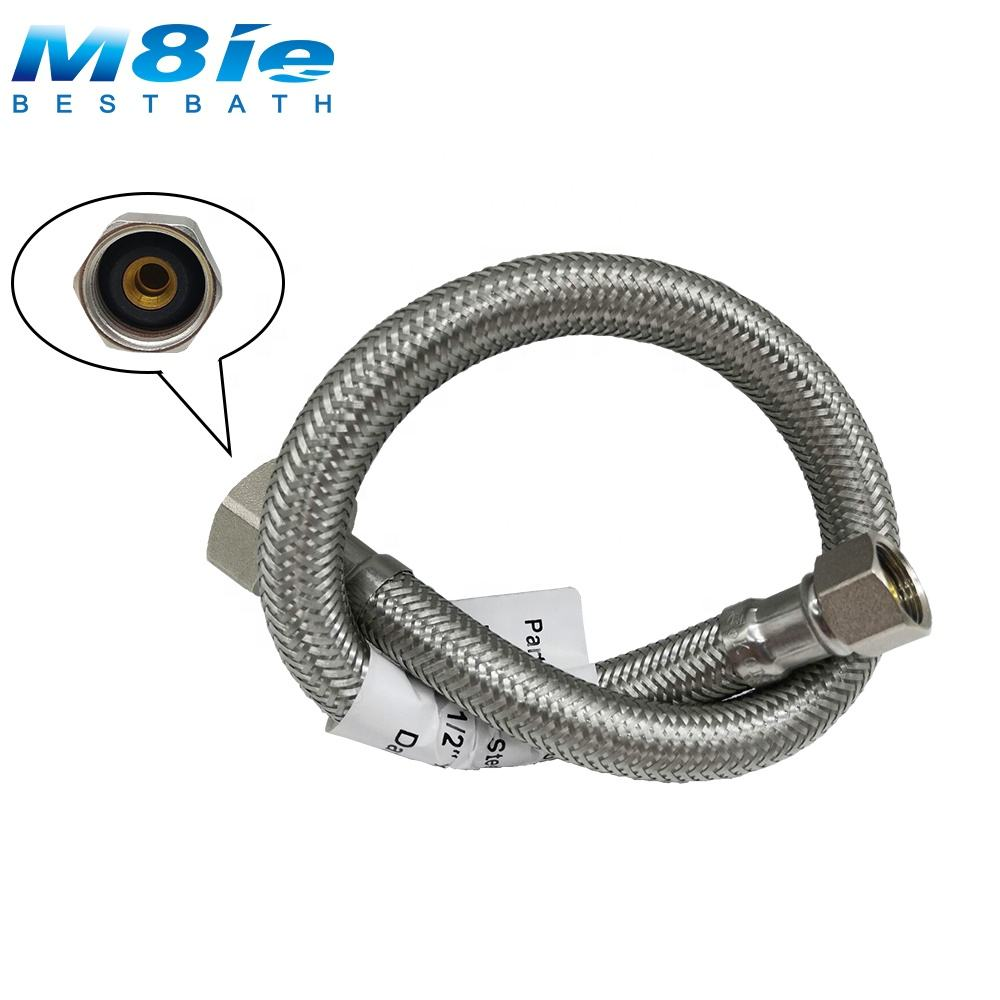 304 Stainless Steel Bathroom Wire Metal Braided Flexible Hose stainless steel pipes With Double Brass Nuts