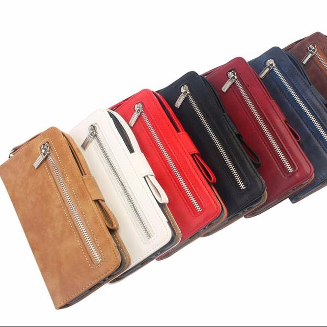 Multi Function Zipper Glossy PU Leather Book Wallet Case for Sasmung S7/S8 S8 Plus/S9 S9 Plus/Note 8/Note 9 case