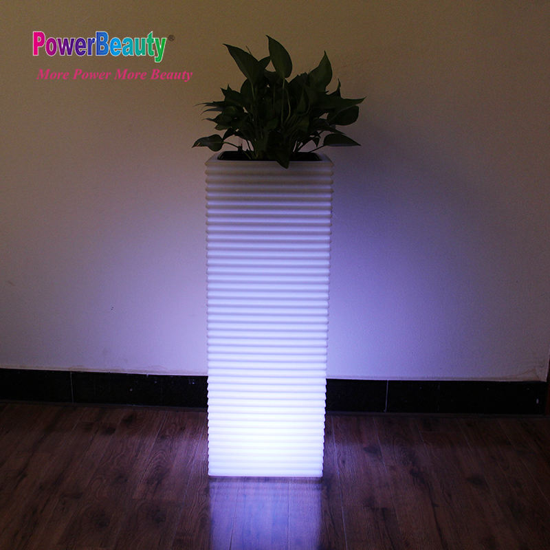 Fashion popular garden big solar led light flower planter pots with water gauge