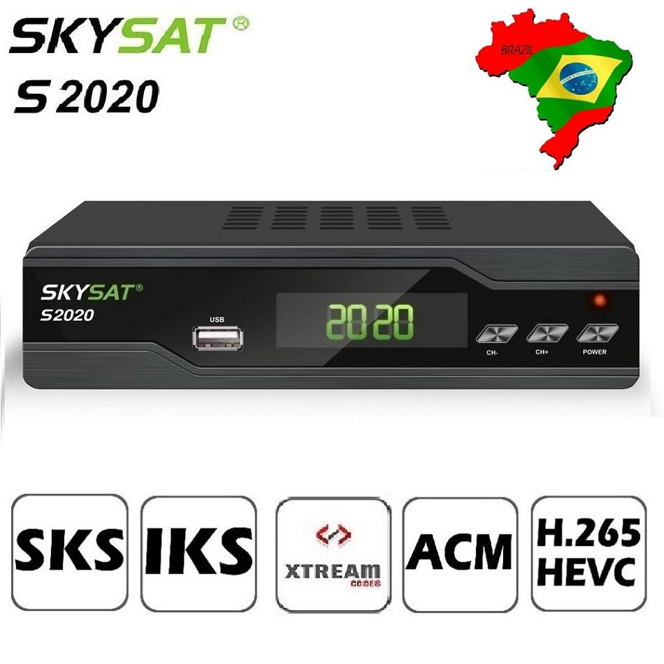 SKYSAT S2020 Twin Tuner Satellietontvanger IKS SKS ACM H.265 Xtream IPTV M3U PowerVu stabiele server Full HD Kanalen DVB-S2 TVBox