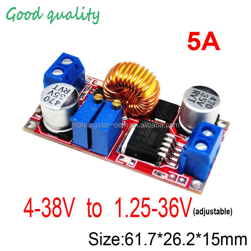 5A 75W 4-38V to 1.25-36VConstant current and constant voltage DC DC step down buck converter moduleLED driver lithium batteries