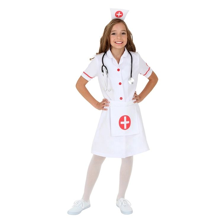White Uniform Nurse Outfits Children Party Cosplay Costumes Doctor Role Play Costume For Kids Girl