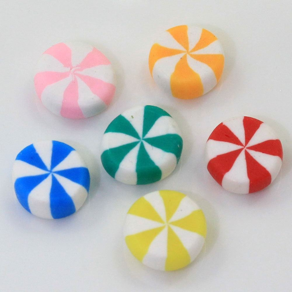 Kawaii Flat Back Polymer Clay Round Peppermint Candy For Polymer Clay Food DIY Miniature Dollhouse Accessories