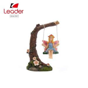 Lovely Resin Fairy Figurineon Swing Miniature Garden or Potted Plant Decoration fairy garden
