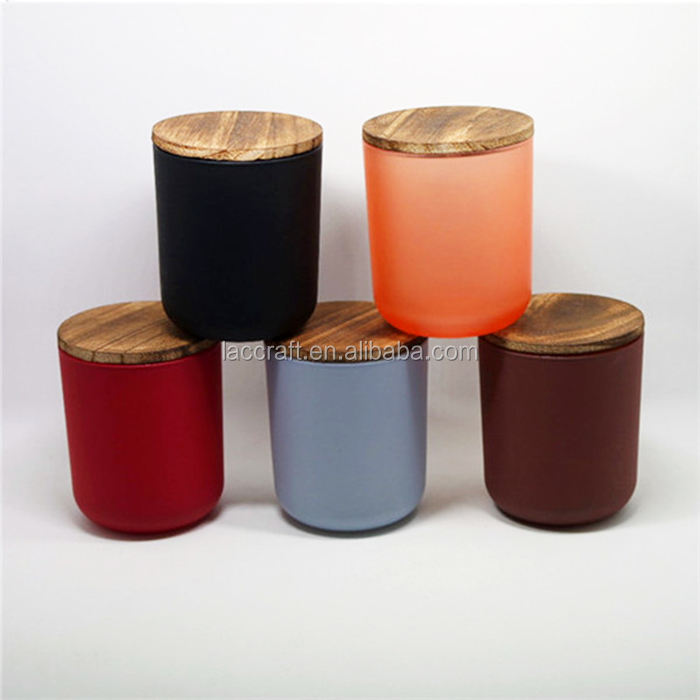 500ml wholesale frosted matte color candle cup candle jar glass