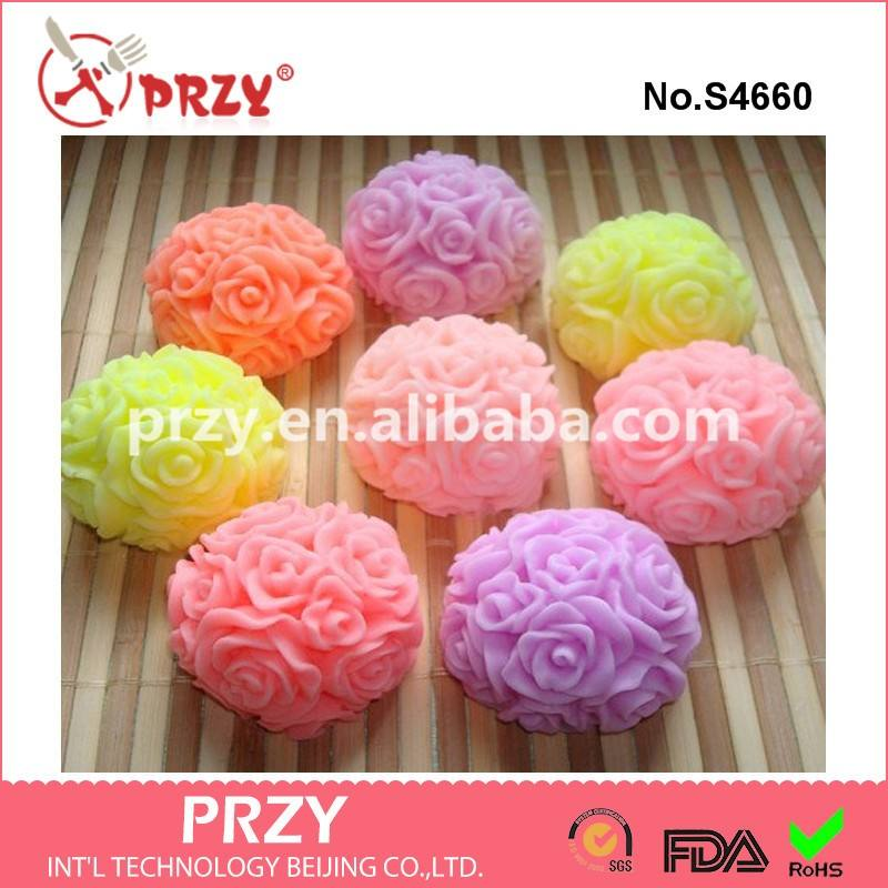 S4660 Manufacture of Rose ball silicone handmade soap mold rose candle silicone mould