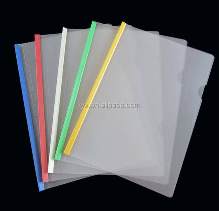 Promotional clear transparent report cover A4 size pp sliding bar file folder