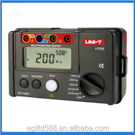 UNI-T UT525 Multi-fungsional Digital Isolasi Listrik Tester Earth Resistance Meter + RCD Tester + Continuity + VAC/DC (4 in 1)