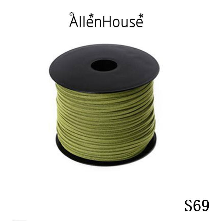 DIY Cord Supplies half price etsy online shopping 3mm pea green wide split Suede Leather Lace Faux Vegan Suede Cord