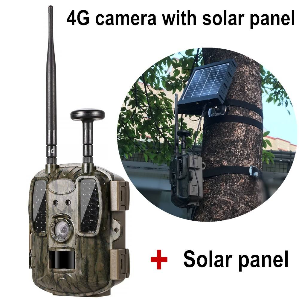 GPS Hunting camera 4G With 3000mah Solar Panel Mobile APP Control Wireless Motion Detection Chasse Wildlife Camera Trap photo 4G