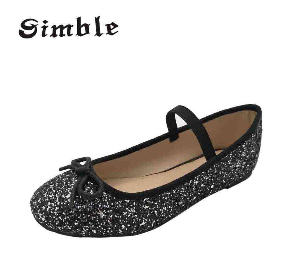 Made in china black glitter flat shoe Sequins Ballet Shoes