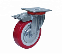 Casters 5 inch silent European style double brake PU(red) wheel factory direct sale