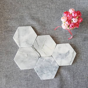 Hot Sale Best Quality Personalize White Marble Coaster Hexagon Marble Drink Coasters for Sale