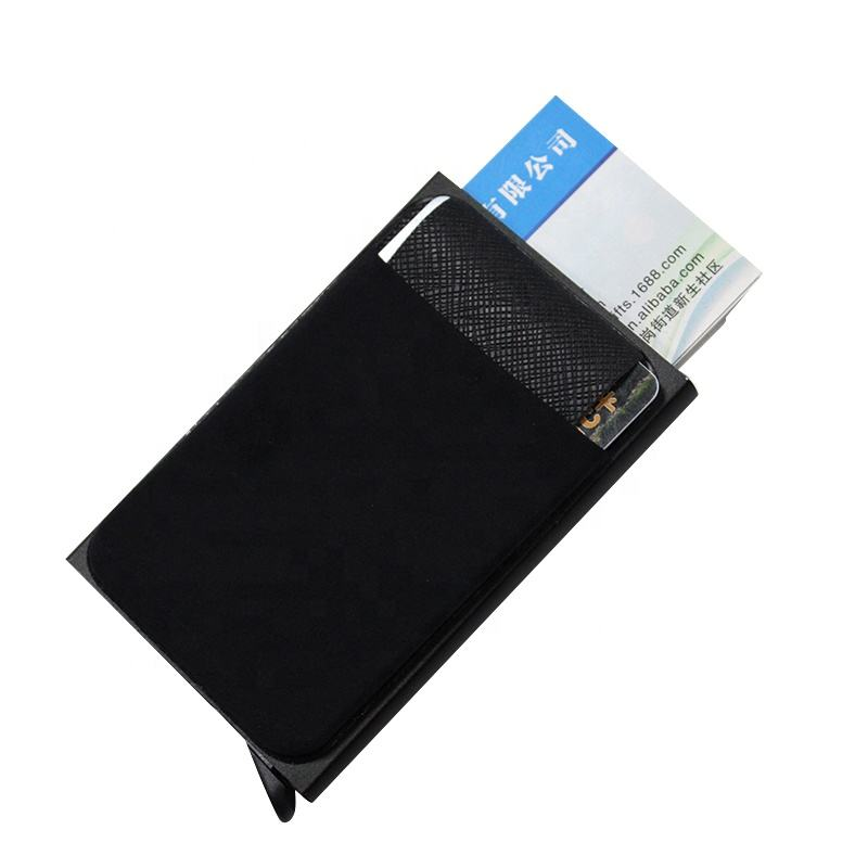 Slim Wallet Front Pocket Aluminum Card Protector with Automatic Pop up
